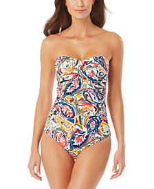 Paisley-Print Strapless Swimsuit