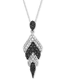 "Black & White Diamond Chevron 20"" Pendant Necklace (1 ct. t.w.) in 14k White Gold"