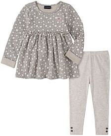 Little Girl All Over Stars Printed French Terry Tunic with Legging, 2 Piece Set