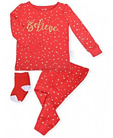 Toddler Girls 2-Piece Holiday Star Pajama Sock Set