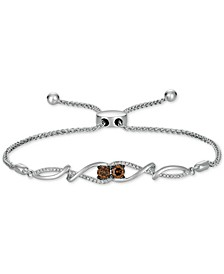 Chocolatier® Chocolate Diamond & Vanilla Diamond Bolo Bracelet (1/2 ct. t.w.) in 14k White Gold