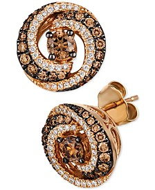 Chocolate Diamond & Vanilla Diamond Swirl Stud Earrings  (7/8 ct. t.w.) in 14k Rose Gold