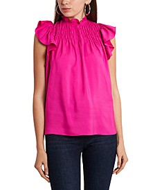 Wide-Smocked Ruffle-Sleeve Top
