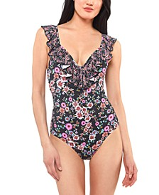 Ruffle-Trim Floral-Print One-Piece Swimsuit
