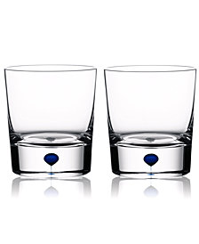 Orrefors Set of 2 Intermezzo Blue Double Old Fashioned Glasses