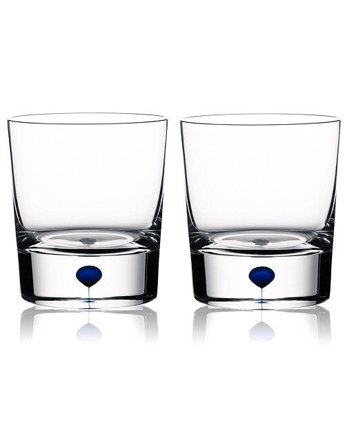 Orrefors Set of 2 Intermezzo Blue Double Old Fashioned Glasses
