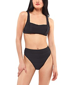 Ribbed Retro Wide-Strap Bikini Top & High-Waist Bottoms