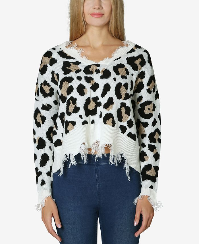 Polly & Esther - Juniors' Destructed Animal-Print Sweater