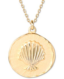 """The Little Mermaid Shell Medallion 18"""" Pendant Necklace in 18k Gold-Plated Sterling Silver"""