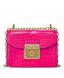 로렌 랄프로렌 Lauren Ralph Lauren Croc Embossed Leather Mini Beckett Crossbody Bag