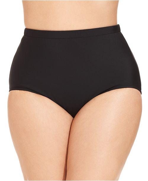 Swim Solutions Plus Size Mid-Rise Tummy-Control Swim Bottoms
