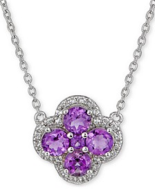 "Amethyst (7/8 ct. t.w.) & White Topaz (1/6 ct. t.w.) Clover 18"" Pendant Necklace in Sterling Silver (Also in Blue Topaz, Rhodolite Garnet & Multi-Stone)"