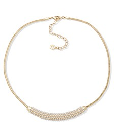 "Pearl Frontal Necklace, 16"" + 3"" extender"