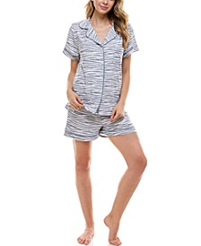 Printed Button Top & Shorts Pajama Set
