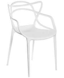 Mid-Century Modern Style Stackable Plastic Molded Arm Chair with Entangled Open Back