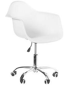 Mid-Century Modern Style Swivel Plastic Shell Molded Office Task Chair with Rolling Wheels