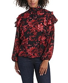Women's Long Sleeve Victorian Blooms Tiered Ruffle Blouse