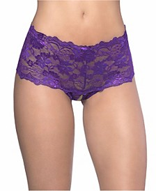 Women's Lace Crotchless Boyshort with Elastic Detail
