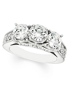3 Carat Diamond 3-Stone Ring in 14K White Gold