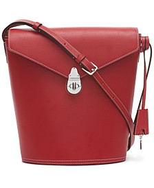 Large Lock Leather Bucket Bag