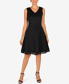 Donna Ricco Lace-Hem Fit & Flare Dress