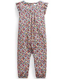 Ralph Lauren Baby Girls Floral Flutter-Sleeve Jumpsuit
