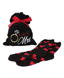 Future Mrs. Cosy Women's Socks with Gift Bag, Set of 2
