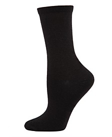 Flat knit Cashmere Women's Crew Socks