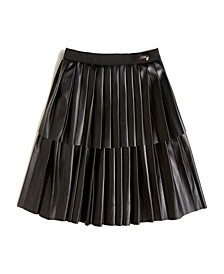 Big Girl's Faux Leather Layered Pleated Skirt