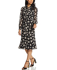 Floral-Print Chiffon A-Line Dress