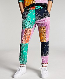 Men's Marcus Straight-Fit Colorblocked Bandana-Print Patchwork Pants