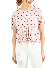 Juniors' Butterfly Printed Knot-Front Ringer T-Shirt