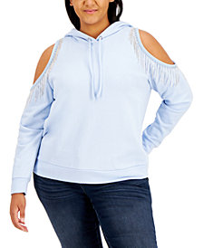 INC Plus Size Cold-Shoulder Fringed Hoodie, Created for Macy's