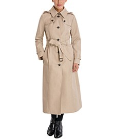 Petite Hooded Maxi Trench Coat