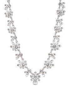 "Silver-Tone Crystal Collar Necklace, 16"" + 3"" extender"