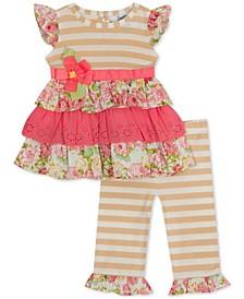 Baby Girls 2-Pc. Mixed-Print Ruffled Top & Leggings Set