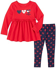 Little Girls Two Piece Knit Tunic Top with Hearts Print Leggings Set