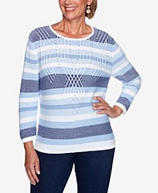 Women's Missy Denim Friendly Texture Stripe Sweater