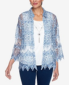 Women's Missy Denim Friendly Medallion Border Lace Two for One Top