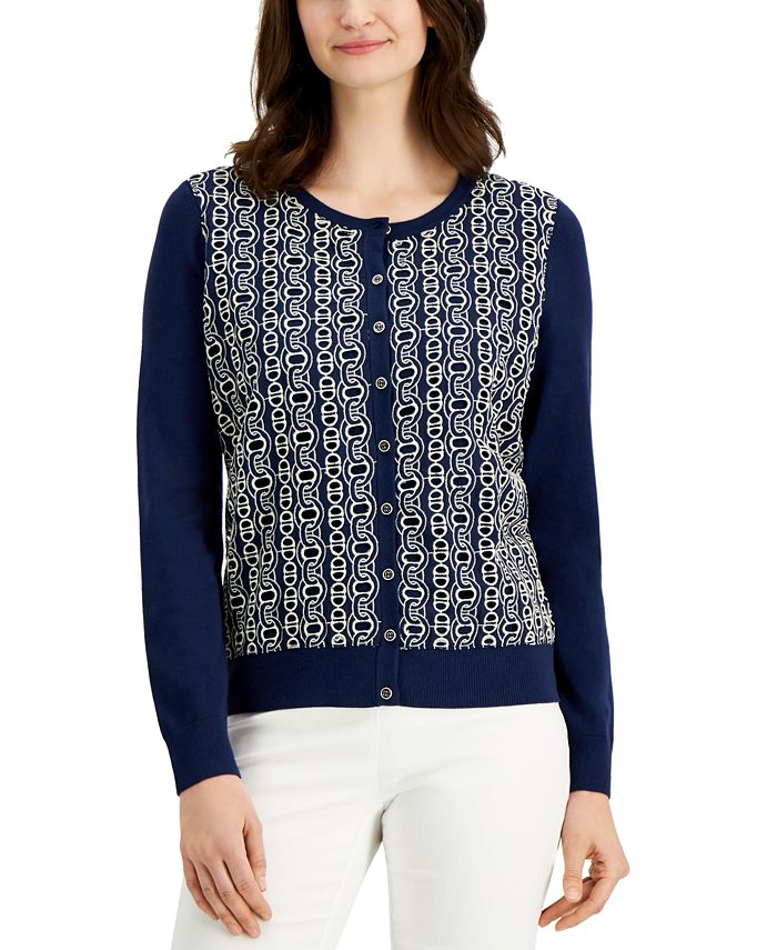Charter Club - Lace-Front Cardigan Sweater