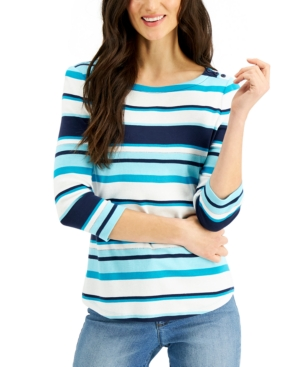 Charter Club Cottons PETITE COTTON STRIPED TOP, CREATED FOR MACY'S
