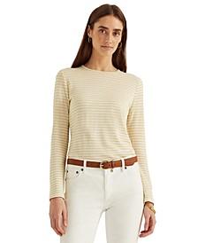 Metallic-Stripe Long Sleeve Top
