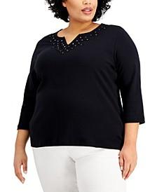Plus Size Cotton Appliqué Split-Neck Top, Created for Macy's