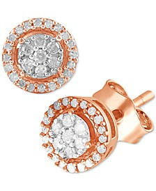 Diamond Halo Cluster (1/6 ct. t.w.) in Rose Gold-Plated Sterling Silver