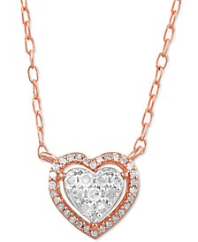 "Diamond Heart Cluster Halo 16"" Pendant Necklace (1/6 ct. t.w.) in Rose Gold-Plated Sterling Silver"