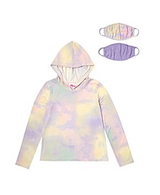 Big Girls Long Sleeve Hooded Top with Matching Reversible Mask, Set of 2