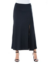 Women's Plus Size  Side Slit Ankle Length Skirt
