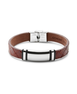 Men's Brown Woven Leather Id Bracelet