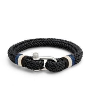 Men's Woven Black Cotton Shackle Bracelet