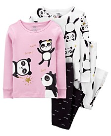 Carters Toddler Girl  4-Piece Panda 100% Snug Fit Cotton PJs